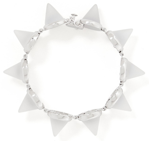 Eddie Borgo White Frosted Glass Cone Bracelet
