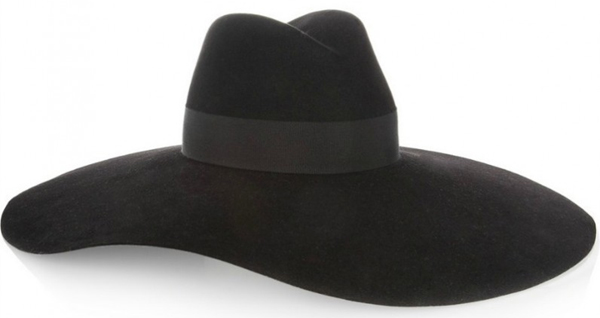 Saint Laurent Wide-brimmed rabbit and cotton-blend felt fedora